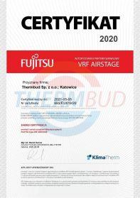 Certyfikat - Fujitsu - Autoryzowany partner serwisowy VRF Airstage