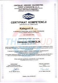 Certyfikat kompetencji Kategorii A  w dziedzinie chłodnictwa, pomp ciepła i klimatyzacji