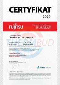 Certyfikat 2020 - Fujitsu - Autoryzowany partner SPLIT/MULTI
